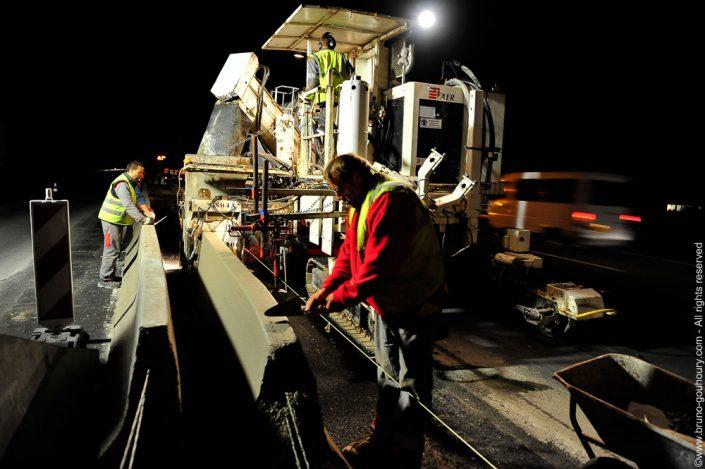 photographe travaux publics autoroute dir nord nuit